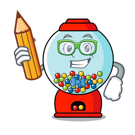Student gumball machine character cartoon vector illustration