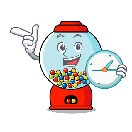 With clock gumball machine character cartoon vector illustration