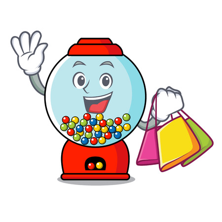 Shopping gumball machine character cartoon vector illustration