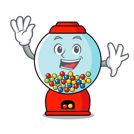 Waving gumball machine character cartoon vector illustration Banque d'images - 103553778