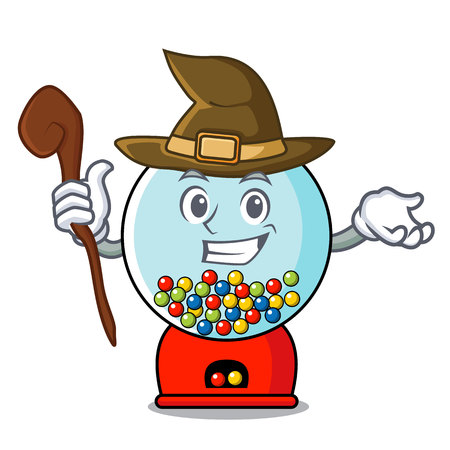 Witch gumball machine mascot cartoon vector illustration