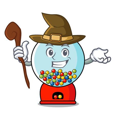 Witch gumball machine mascot cartoon vector illustration