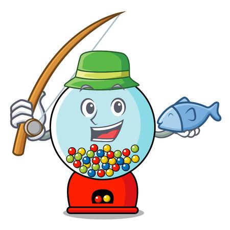 Fishing gumball machine mascot cartoon vector illustration Banque d'images - 103553722