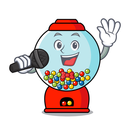 Singing gumball machine mascot cartoon vector illustration