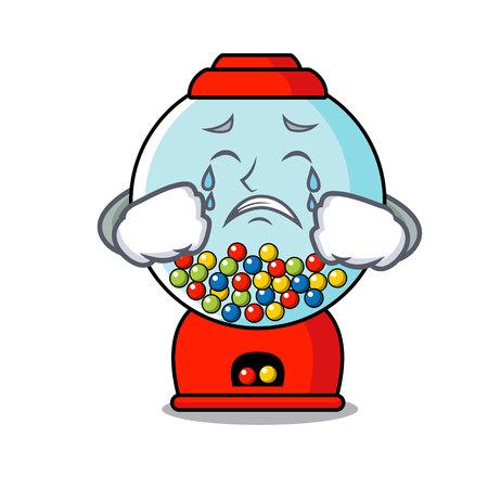 Crying gumball machine mascot cartoon vector illustration