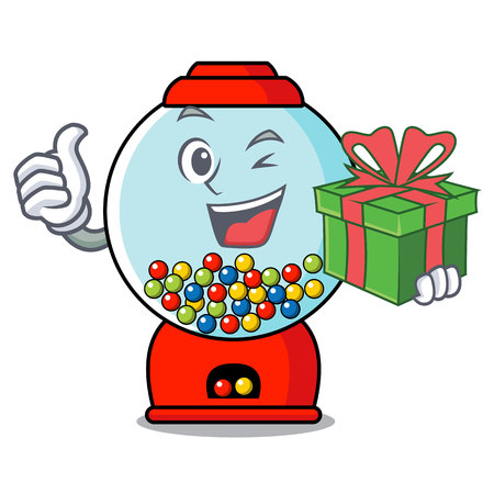 With gift gumball machine mascot cartoon vector illustration