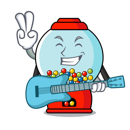 With guitar gumball machine mascot cartoon vector illustration Illustration