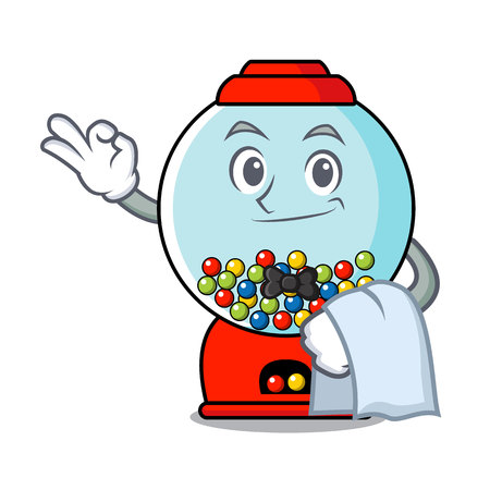 Waiter gumball machine mascot cartoon vector illustration
