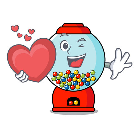 With heart gumball machine mascot cartoon vector illustration Banque d'images - 103553737