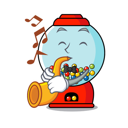 With trumpet gumball machine mascot cartoon vector illustration
