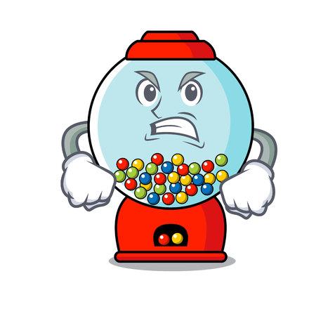 Angry gumball machine mascot cartoon vector illustration