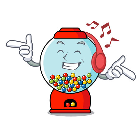Listening music gumball machine mascot cartoon vector illustration Banque d'images - 103553743