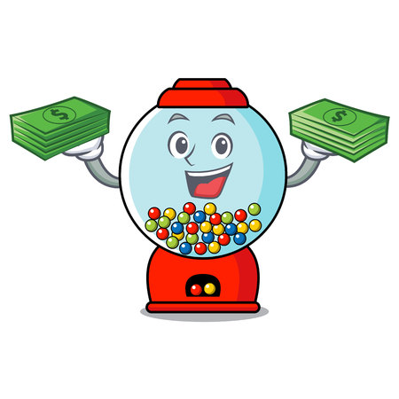 With money bag gumball machine mascot cartoon vector illustration