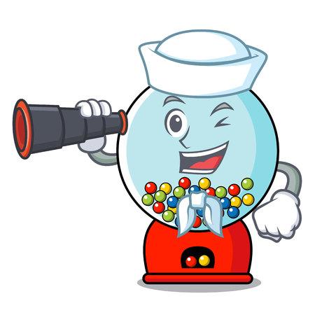 Sailor with binocular gumball machine mascot cartoon vector illustration