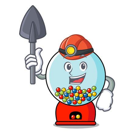 Miner gumball machine mascot cartoon vector illustration Banque d'images - 103553637