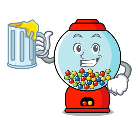 With juice gumball machine mascot cartoon vector illustration
