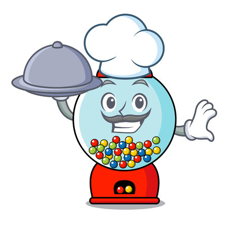 Chef with food gumball machine mascot cartoon vector illustration Illustration