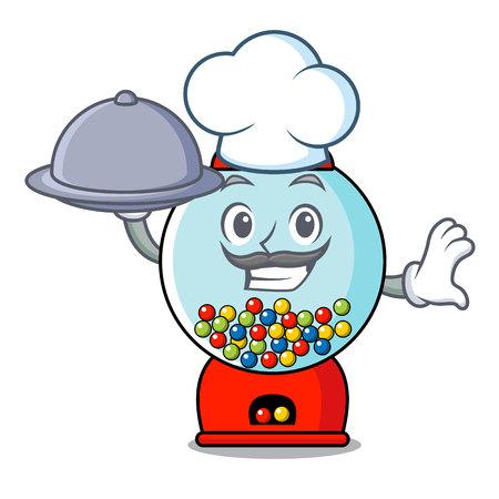 Chef with food gumball machine mascot cartoon vector illustration Stock Illustratie