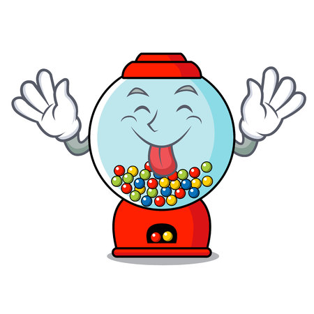 Tongue out gumball machine mascot cartoon vector illustration