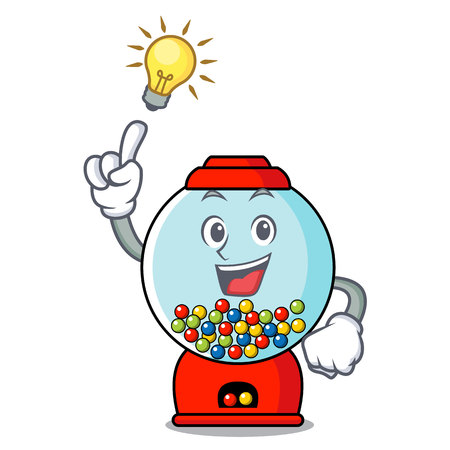 Have an idea gumball machine mascot cartoon vector illustration