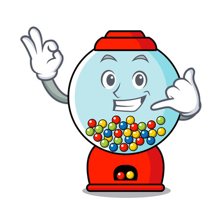Call me gumball machine mascot cartoon vector illustration Banque d'images - 103553652