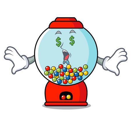 Money eye gumball machine mascot cartoon vector illustration Banque d'images - 103553654