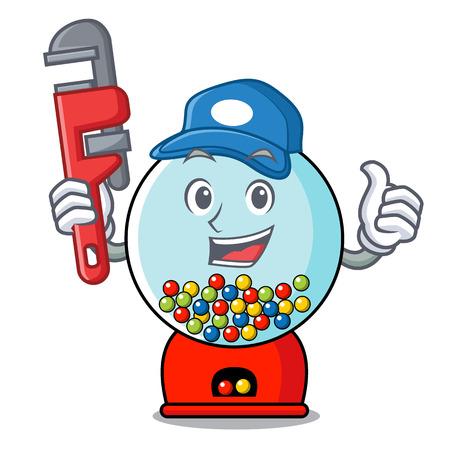 Plumber gumball machine mascot cartoon vector illustration Banque d'images - 103553680