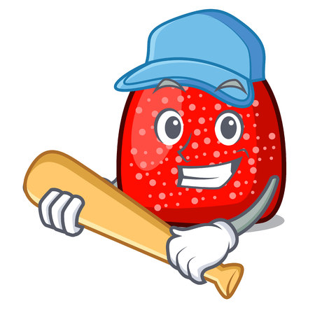 Playing baseball gumdrop character cartoon style vector illustration