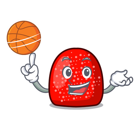 With basketball gumdrop character cartoon style vector illustration Illustration
