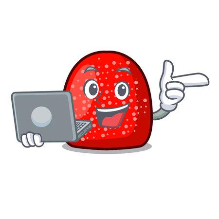 With laptop gumdrop character cartoon style vector illustration
