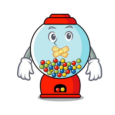 Silent gumball machine mascot cartoon vector illustration Illustration