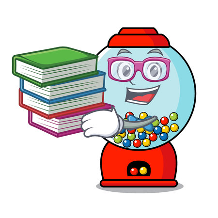 Student with book gumball machine mascot cartoon vector illustration