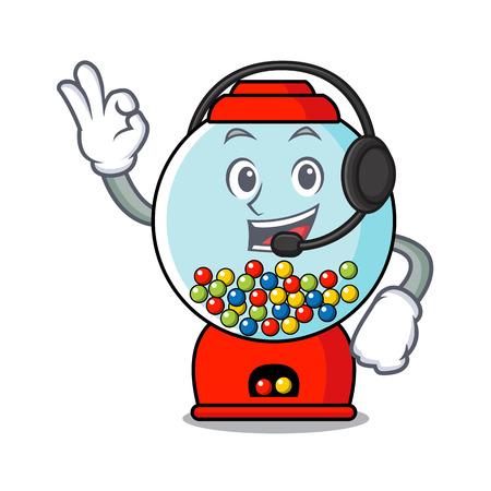 With headphone gumball machine mascot cartoon vector illustration Stock Illustratie