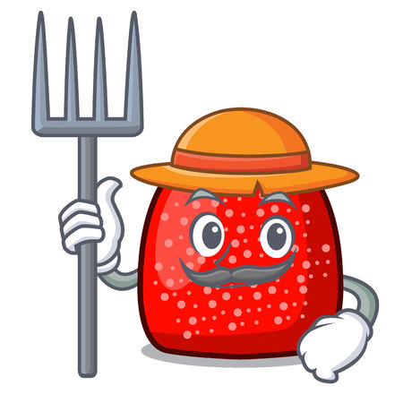 Farmer gumdrop character cartoon style vector illustration 向量圖像