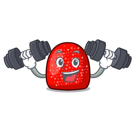 Fitness gumdrop character cartoon style vector illustration Illustration