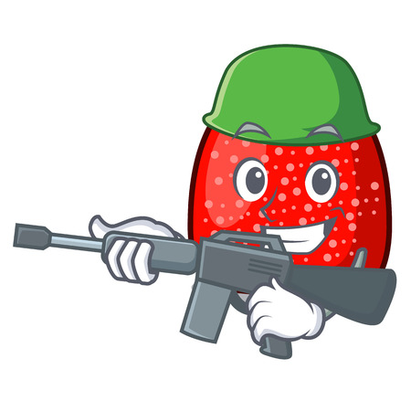 Army gumdrop character cartoon style vector illustration