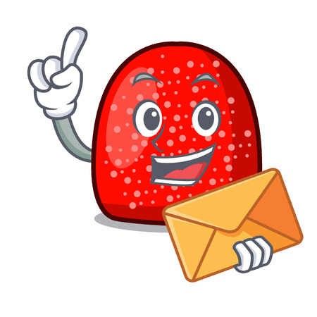 With envelope gumdrop character cartoon style vector illustration