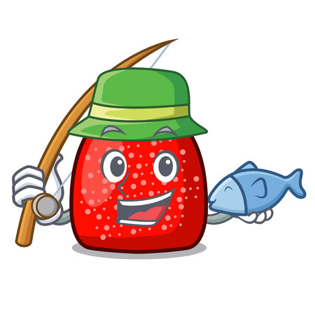 Fishing gumdrop mascot cartoon style vector illustration Illustration