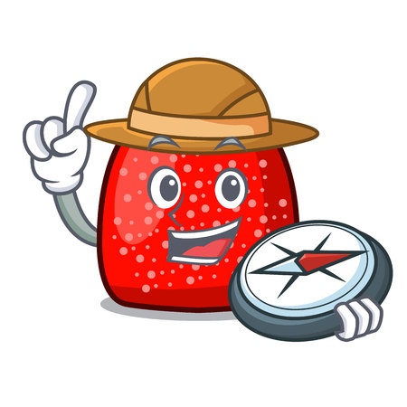 Explorer gumdrop mascot cartoon style vector illustration