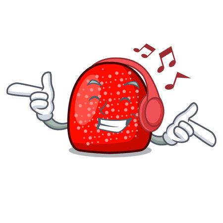 Listening music gumdrop mascot cartoon style vector illustration