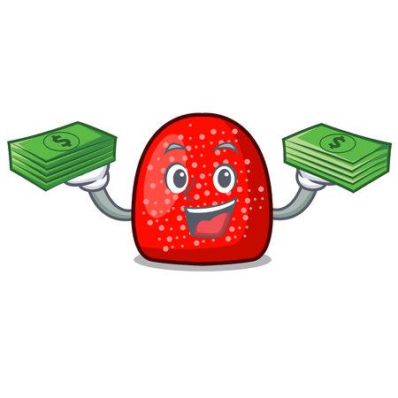 With money bag gumdrop mascot cartoon style vector illustration Illustration