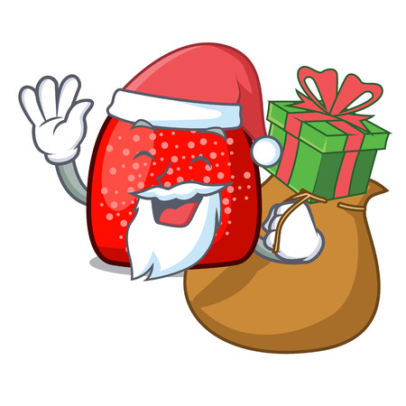 Santa with gift gumdrop mascot cartoon style vector illustration Illustration