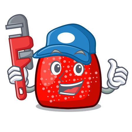 Plumber gumdrop mascot cartoon style vector illustration