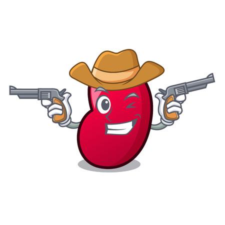 Cowboy jelly bean character cartoon vector illustration
