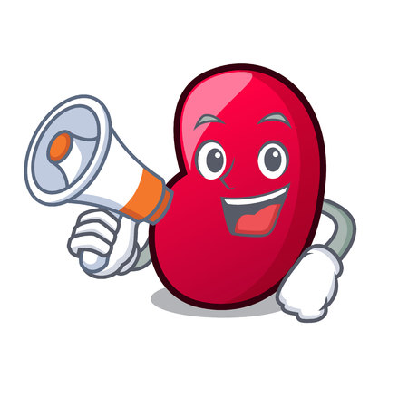 With megaphone jelly bean character cartoon vector illustration