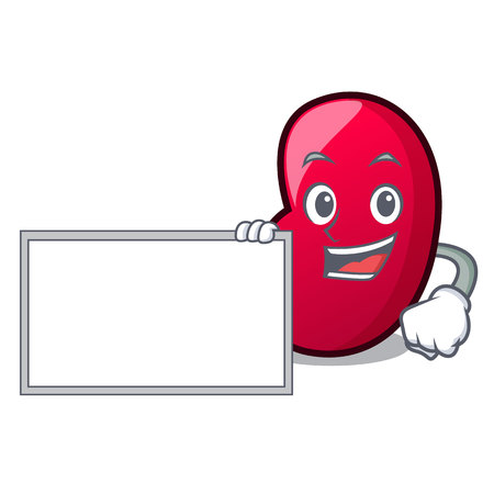 With board jelly bean character cartoon vector illustration