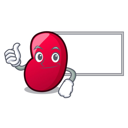 Thumbs up with board jelly bean character cartoon vector illustration
