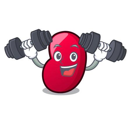 Fitness jelly bean character cartoon vector illustration Vetores