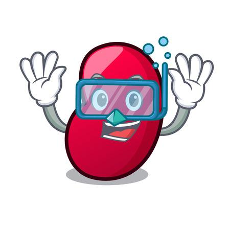 Diving jelly bean character cartoon vector illustration
