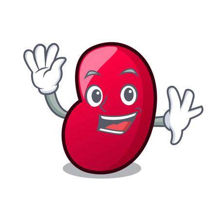 Waving jelly bean character cartoon vector illustration